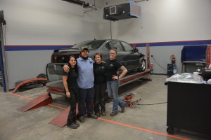 Students working on the car.